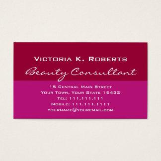 Consultante de beleza rosa vermelha do batom cartão de visita