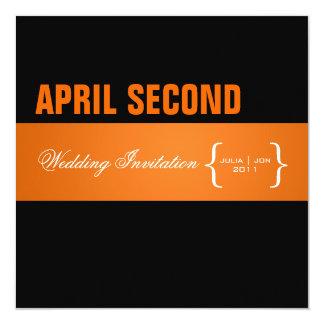 Contemporâneo + elegante/laranja + preto convite quadrado 13.35 x 13.35cm