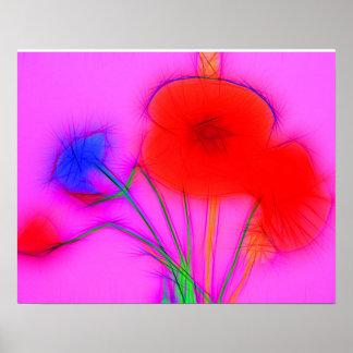 conversas cornflower poppies blue and pôster