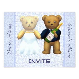 Convidados de convite de casamento azuis dos ursos