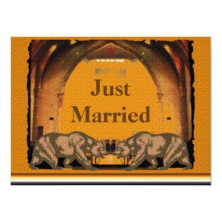 Convite alegre da recepção de casamento do urso convite 16.51 x 22.22cm