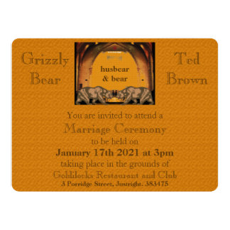 Convite alegre do casamento do urso californiano convite 16.51 x 22.22cm