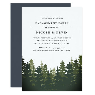Convite alto da festa de noivado dos pinhos