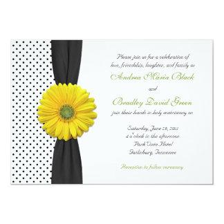 Convite amarelo do casamento das bolinhas da
