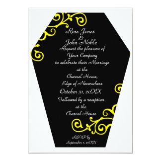 Convite (amarelo) do casamento do ébano de Keranda
