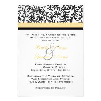 Convite amarelo e preto do casamento