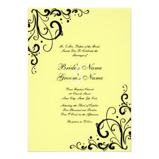 Convite amarelo e preto do casamento do Flourish