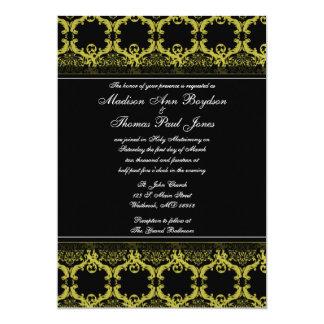 Convite amarelo e preto do damasco do casamento