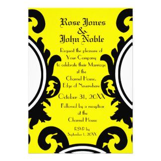 Convite amarelo preto barroco do casamento