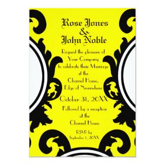 Convite (amarelo) preto barroco do casamento