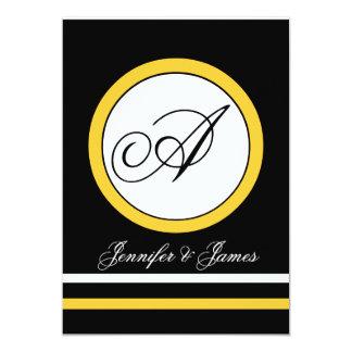 Convite amarelo, preto & branco do casamento do