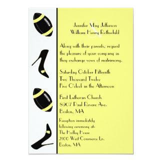 Convite amarelo & preto do casamento do futebol