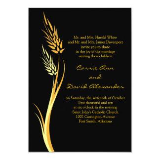 Convite amarelo preto do casamento do trigo do