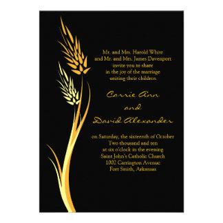 Convite amarelo preto do casamento do trigo do out