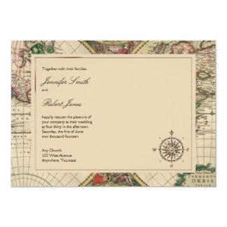 Convite antigo do casamento do mapa de Velho Mundo