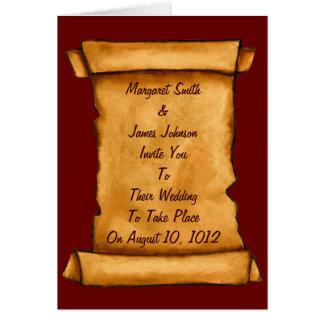 Convite antigo do casamento do rolo: Arte do