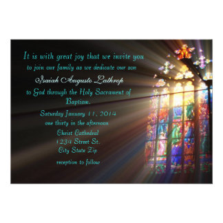 Convite/anúncio do baptismo do vitral