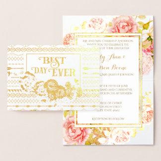 Convite asteca cor-de-rosa do casamento da
