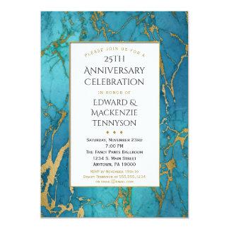 Convite azul da festa de aniversário do mármore do