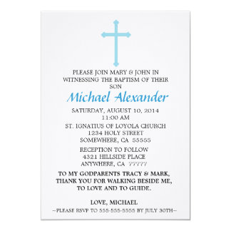 Convite azul do baptismo