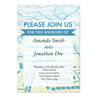 Convite azul do casamento da vista aérea