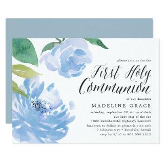 Convite azul do comunhão santamente da peônia  