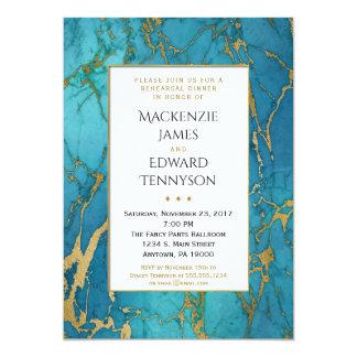 Convite azul do jantar de ensaio do mármore do