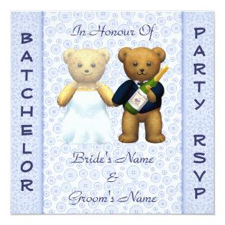 Convite azul do veado dos ursos de ursinho do