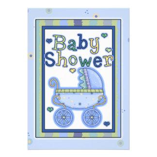 Convite azul doce do chá do bebé do carrinho de cr
