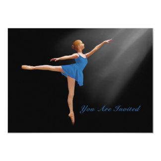Convite, bailarina no Arabesque, customizável Convite 11.30 X 15.87cm