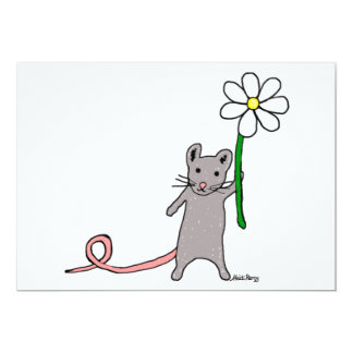 Convite bonito da arte do rato e da flor