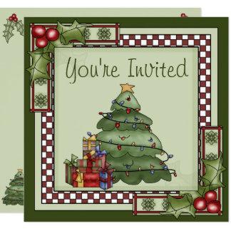 Convite bonito da festa natalícia da árvore de