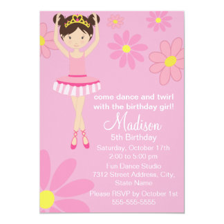 Convite bonito do aniversário do dance party da