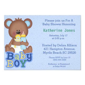 Convite bonito do chá de fraldas do urso do bebê
