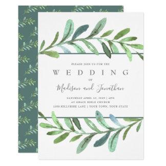 Cartão Convite botânico do casamento das videiras