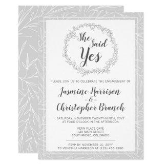 Convite botânico moderno da festa de noivado da