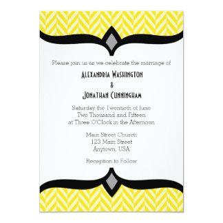 Convite branco amarelo do casamento de Herringbone