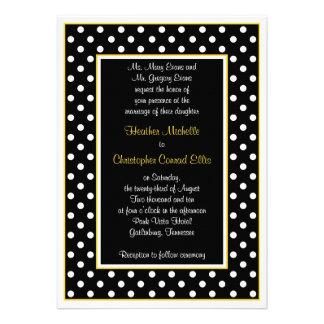Convite branco amarelo preto do casamento das boli