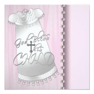 Convite branco cor-de-rosa do batismo do bebé das