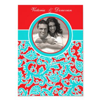 Convite branco do casamento da foto do damasco do