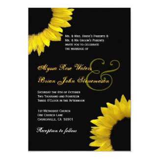 Convite branco preto amarelo do casamento do