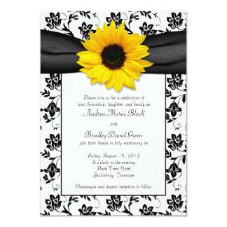 Convite branco preto do casamento do girassol do