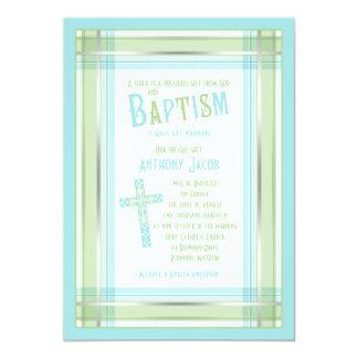 Convite católico do baptismo da cruz da xadrez do