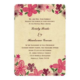 Convite católico do casamento das flores