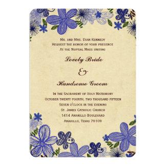 Convite católico do casamento das flores azuis