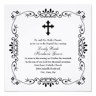 Convite católico transversal preto e branco do