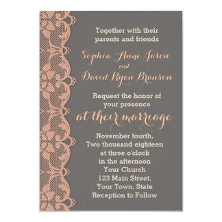 Convite cinzento do casamento do laço do pêssego