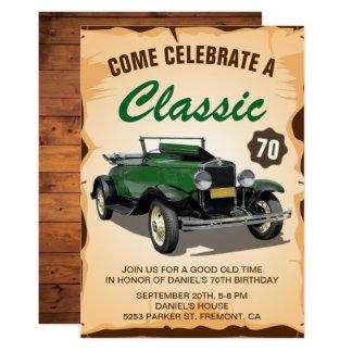 Convite clássico do aniversário do carro verde do