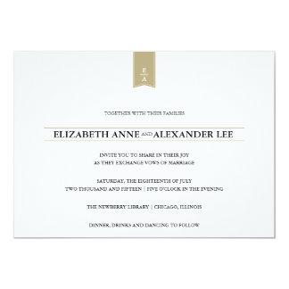 Convite clássico do casamento do ouro dos
