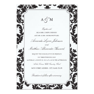 Convite clássico do casamento tema damasco